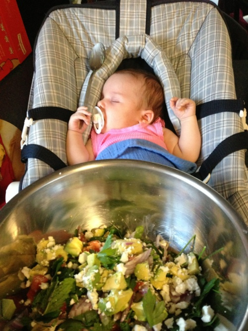 This is Bonnie aka. the wee bonnie lass, tossing the salad. Never too early to get them started...