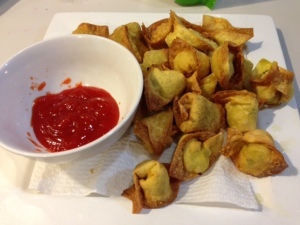 chicken wontons, deep fried and ready to be inserted into your face