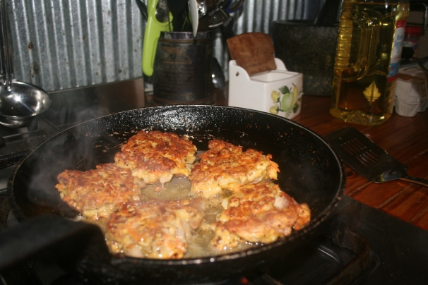 pork fritters frying