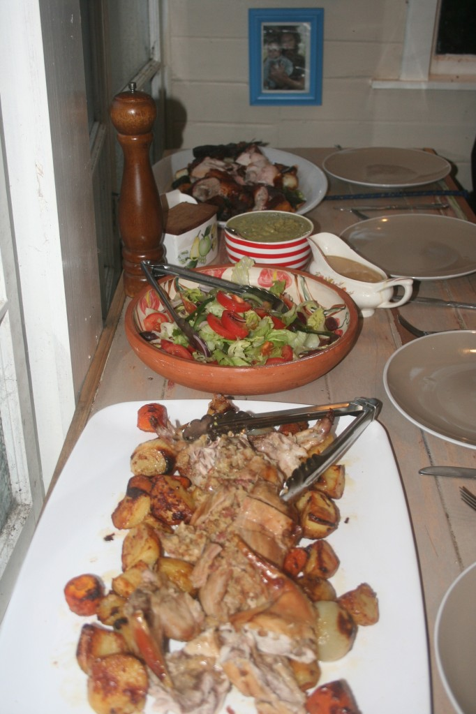 the full spread - rabbit, roast vegetables, salad, cider gravy, broccoli puree, pauls webber chicken. EFFING AWESOME