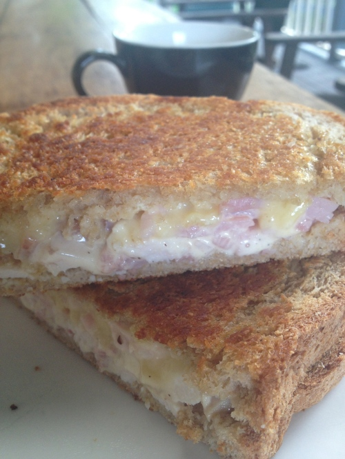 smoked chicken, bacon, cheese and mayonnaise toastie for breakfast