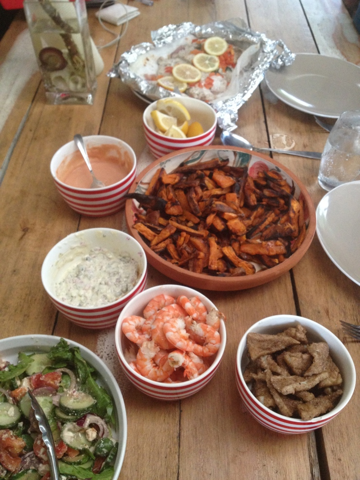 local snapper baked with lemon and tomato, salt and pepper squid, local king prawns, sweet potato chips for the next millenium, salad, tartare and marie rose sauce. This is not a joke!