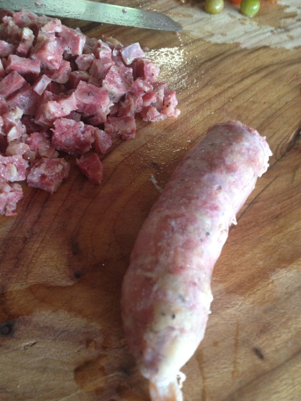 the shlong-like poached cotechino. And some chopped shlong too...