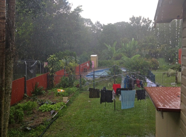 The pool is full, the garden is watered, but the washing alas, did not stand a chance
