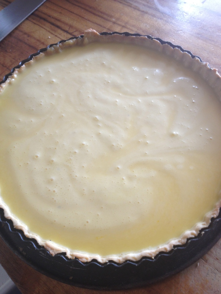 Pour the mix into the pre-baked pastry case