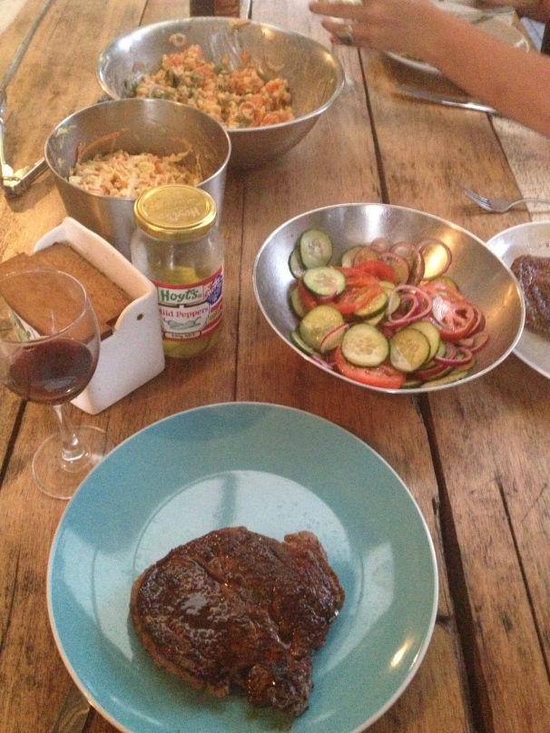 It is truly at home sitting next to a nice steak, along side it's good friends, the potato salad and coleslaw