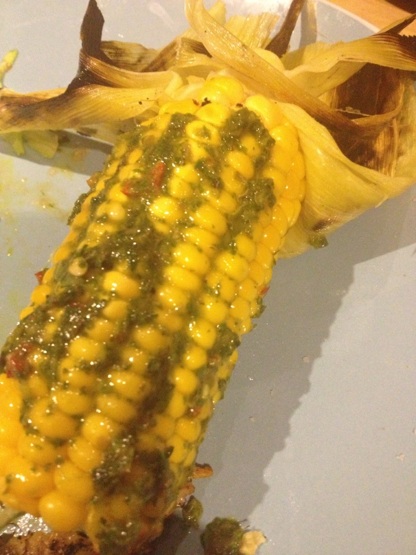 Grilled corn with chimmichurri is good