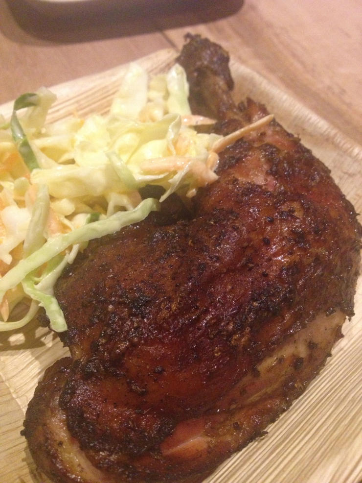 Chicken and coleslaw on new kitchen crockery