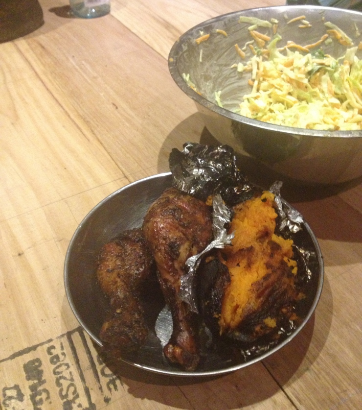 Chicken and coleslaw and roasted sweet potato