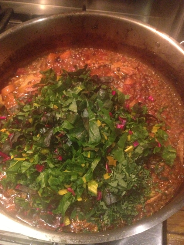 Add the chard and lentils