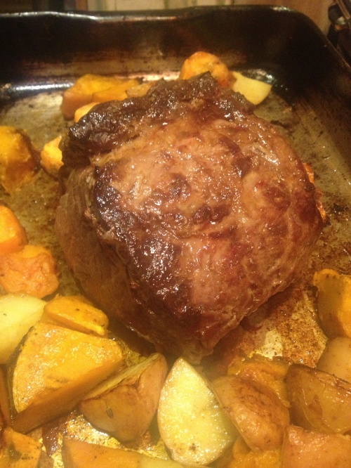 Roast some beef exactly like you like to roast your beef. Some kind of vegetables are good for contrasting colour and flavour...