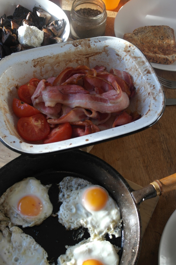 Bacon, eggs, tomato, mushrooms with goat curd, toast. I can start the day like this