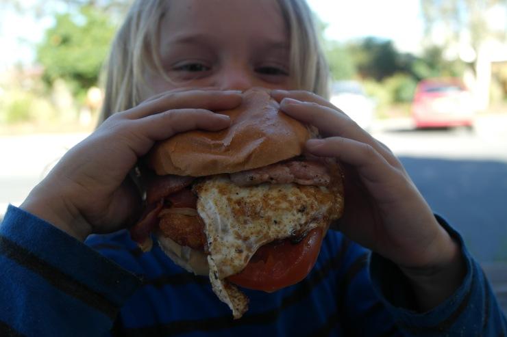 Obi tackles the breakky burger aka. the bigger then his head burger
