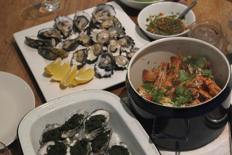 Oysters rockafeller, natural and with soy, ginger & shallot dressing and crab with asian flavours in my new favourite blue pot