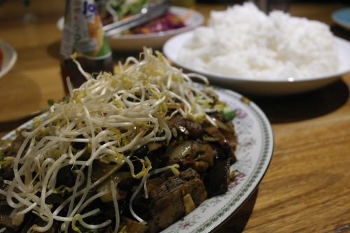 Left over beef rib stir fried with eggplant and bean sprouts. Absolute cracker!