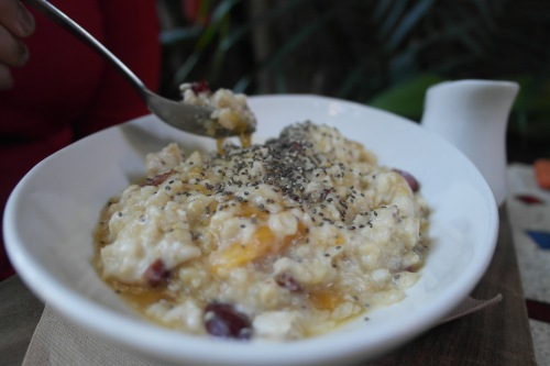 Porridge with apricots, cranberry, chia seed, barley and honey $13.50