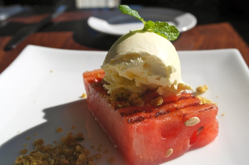 Chargrilled watermelon with mascarpone and nut praline 4.50
