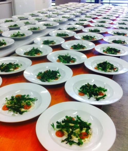Cauliflower yoghurt, vine ripened tomato juice, fried broccolini (awaiting the 24hr lamb)