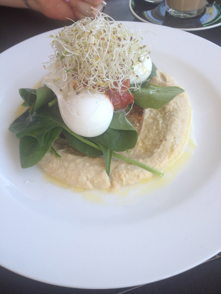 Ezekiel bread and poached eggs, the biblical sprout bread with hummus, spinach, alfalfa sprouts and relish 15.0