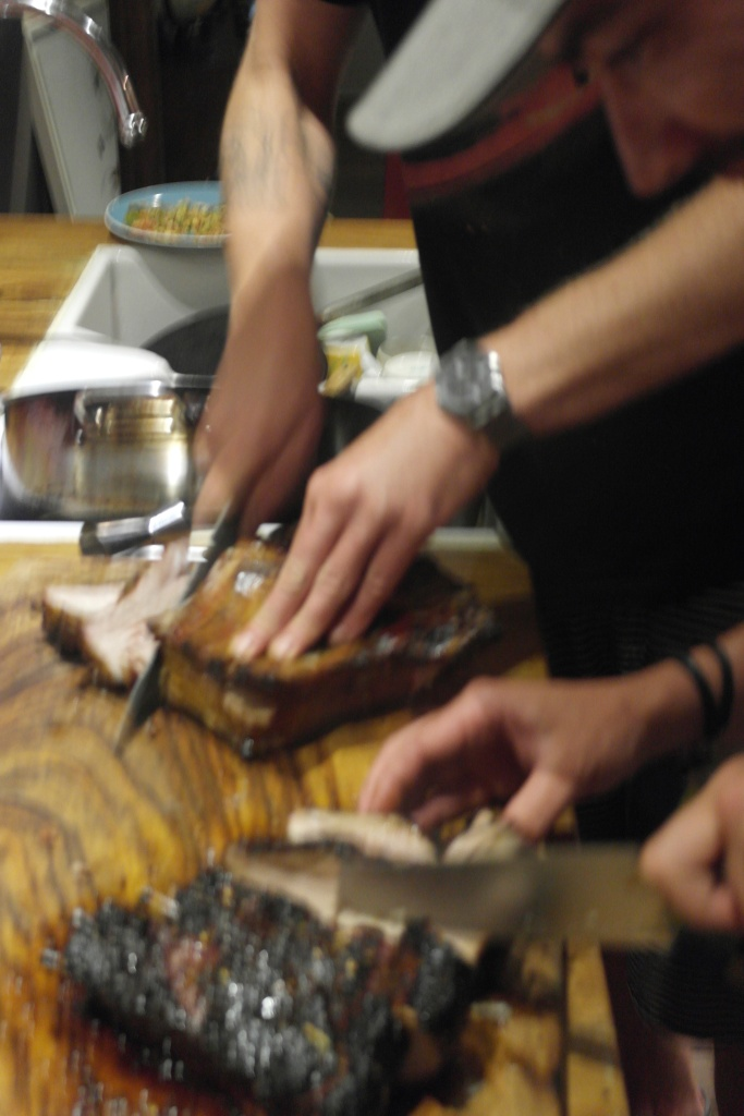 This photo shows that we cut the pork, but I don't remember doing it