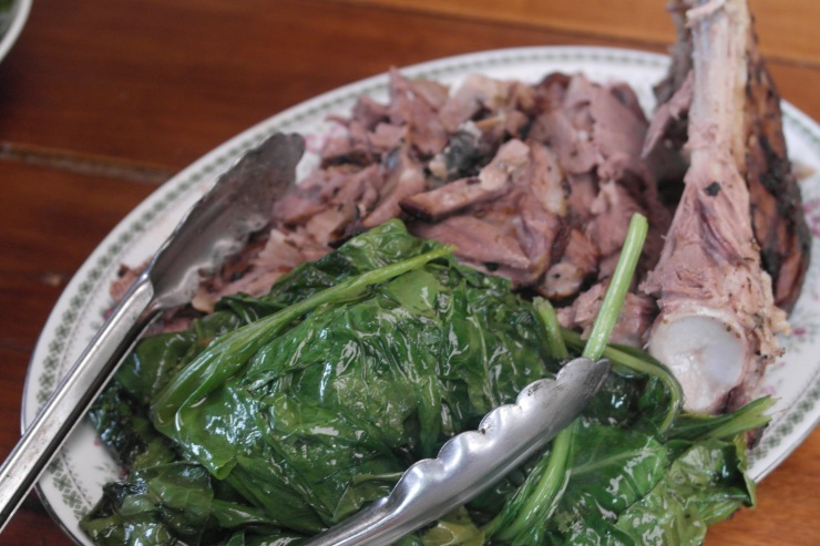 Lamby with sauteed spinac from the garden. Paul commented that he really liked the spinach