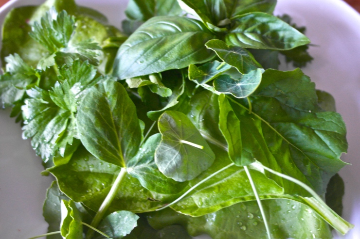 Sauteed herbs and spinach from the garden is a worthy side