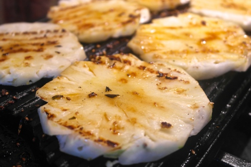 And then grill the pineapple