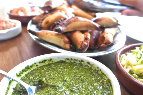 Golden crusty goodness with chimmichurri