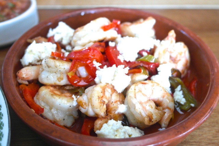 Prawns with capsicum and feta