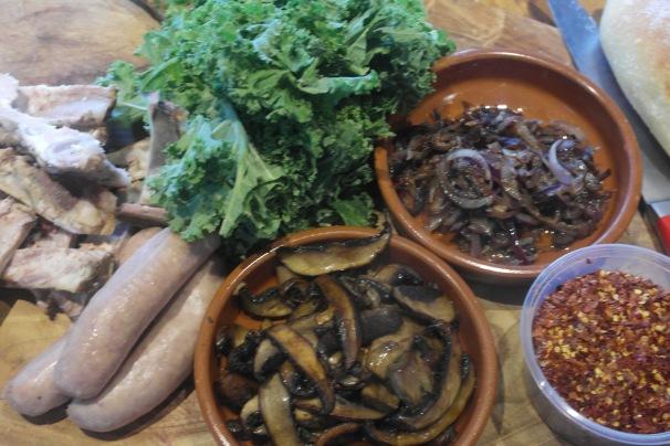 Duck sausage, pork rib, mushroom and kale pasta