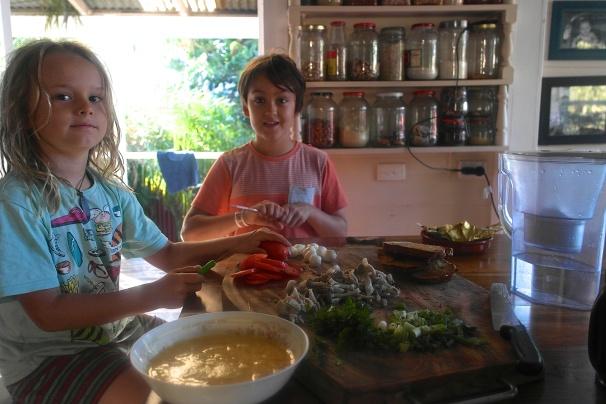 The boys made frittata omelette for breakfast