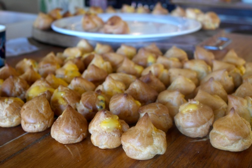 Croquembouche in the making