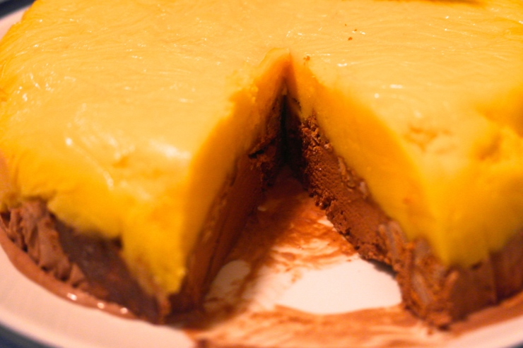 Turn it out to reveal the mango sorbet, crushed tim tam and chocolate ice cream cake