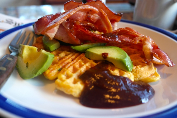 Corn waffles with bacon, avocado and Phil's home made HP sauce