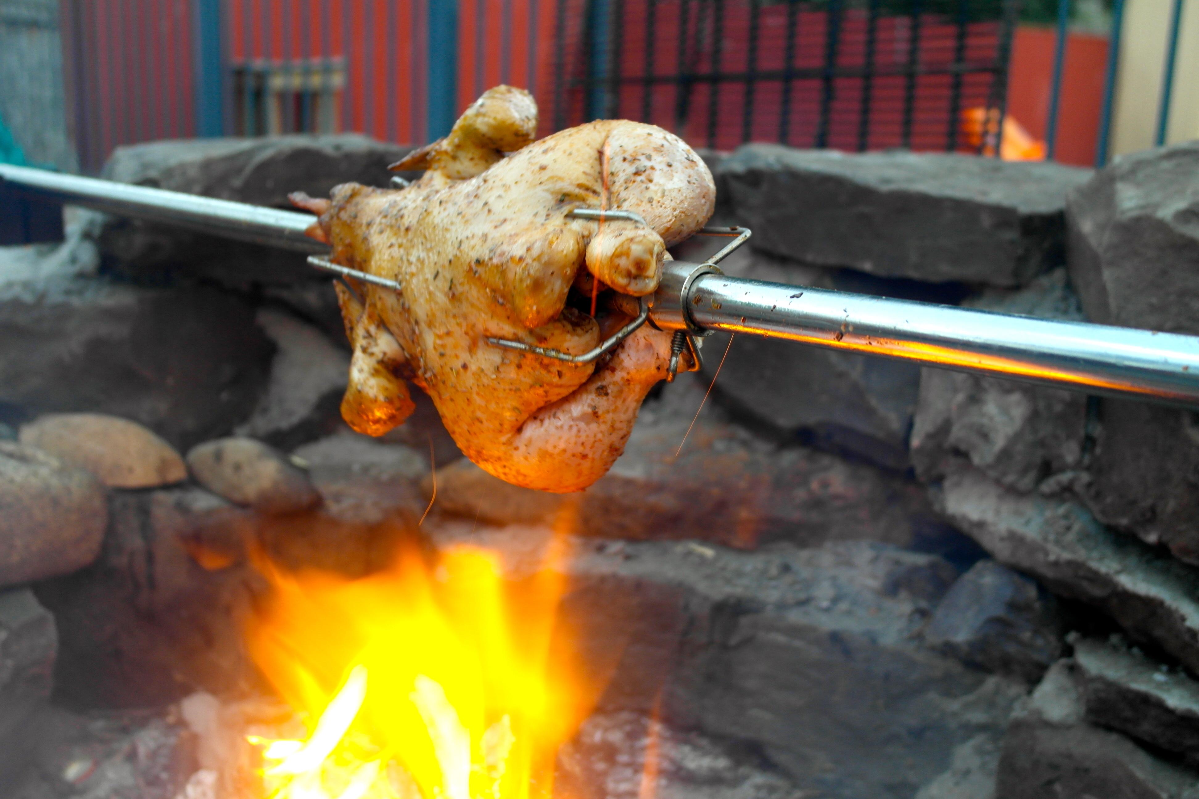 Roast chicken on the f...