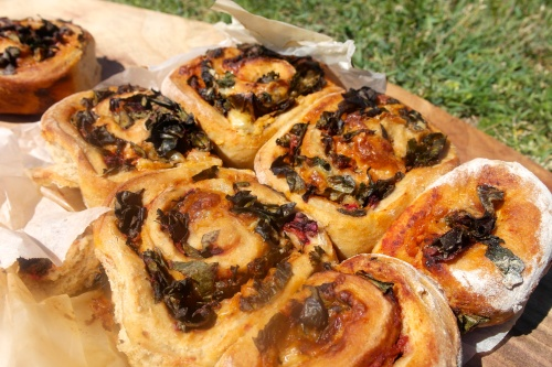 These pizza scroll were damn delicious. Beetroot leaves, tomato passata and cheese. Rocking