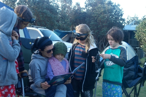 This is story time at the campsite