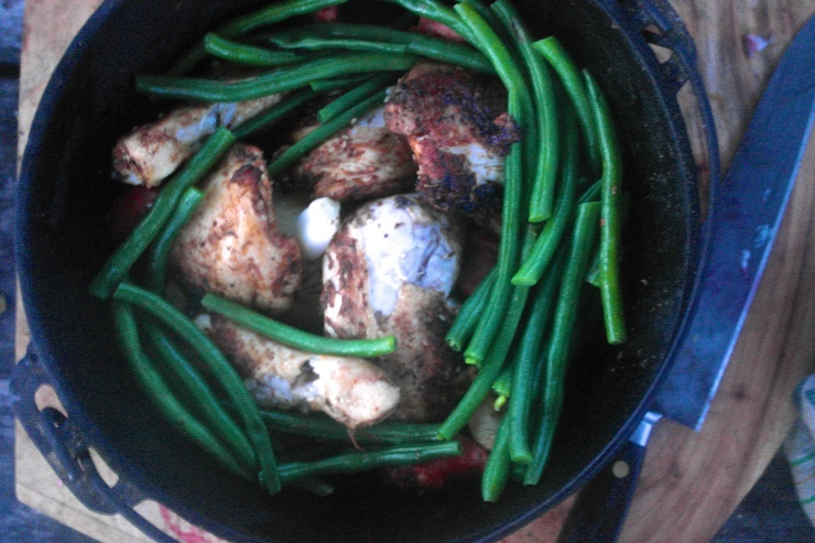 …and finished with a few green beans