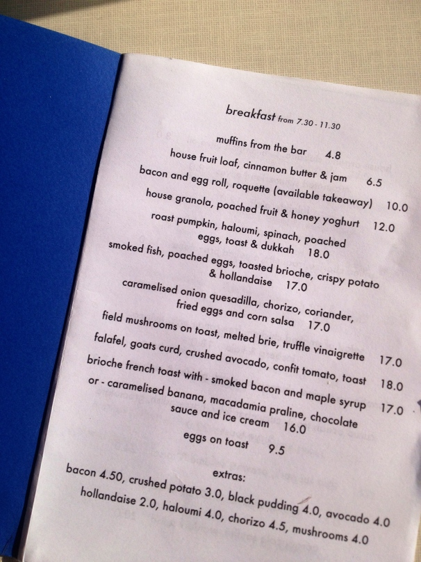 The breakfast menu looks exactly like this