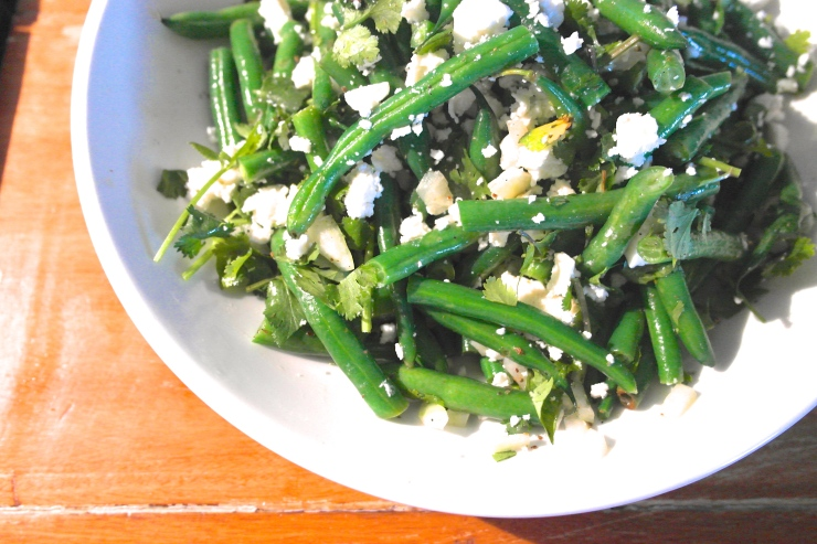 That beans salad. Everyone bass their version of a bean and feta salad but this one, with it's vinegar-y onion-y twang, was perfect with the sticky smoky pork