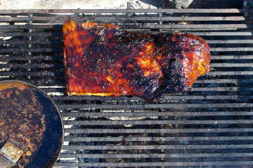 That brisket spent quite a number of hours hanging out with little wisps of smoke from the coals of the old hardwood that burns beneath