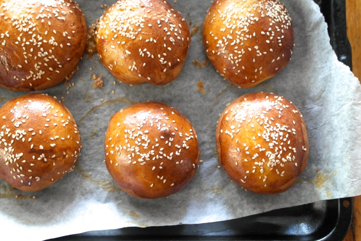 Out of the oven. Nothing wrong with those buns
