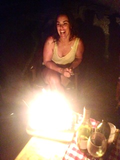 Jennee loving the bonfire effect on her birthday slice