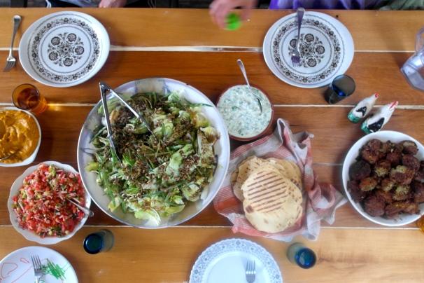 Bean salad, tzatziki and flat breads
