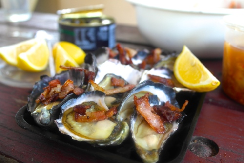 Kick-ass oysters with kick-ass bacon
