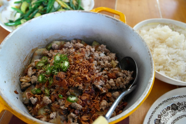 smoky eggplant, pork, morning glory, vietnam, hoi an