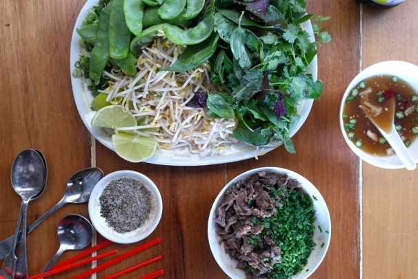 Herbs and sprouts and other shit that goes in your pho