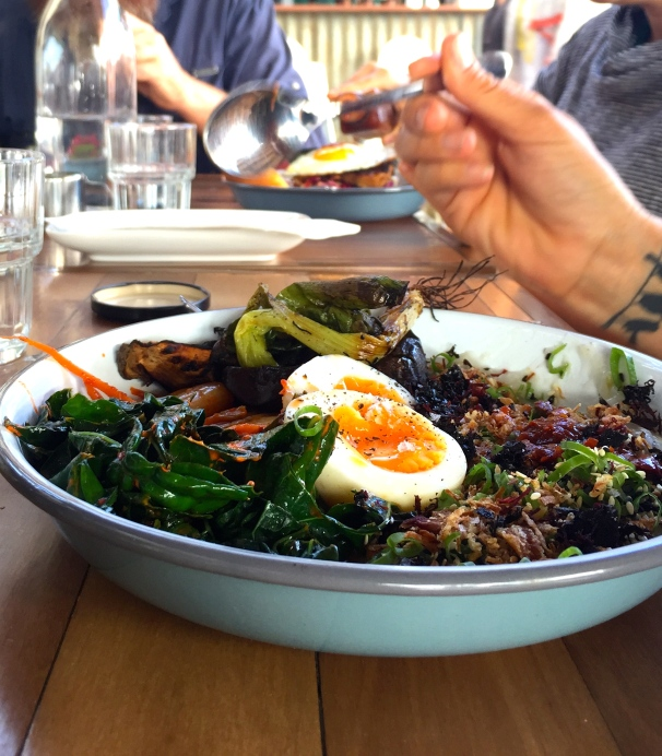 This congee was the dish of the day. Kimchi, kale, miso eggplant, sesame, yarrow, burnt shallot, seaweed and a boiled egg ($21). Everything we expected plus more. Damn tasty stuff
