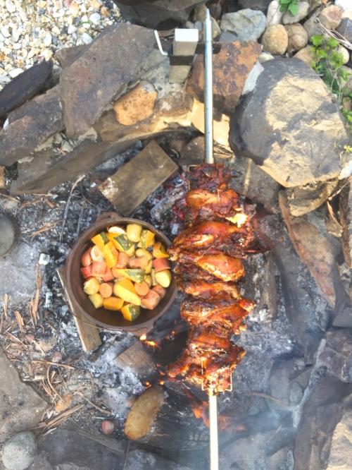 summer chicken pork kebab and vanilla bean pannacotta with marsala strawberries