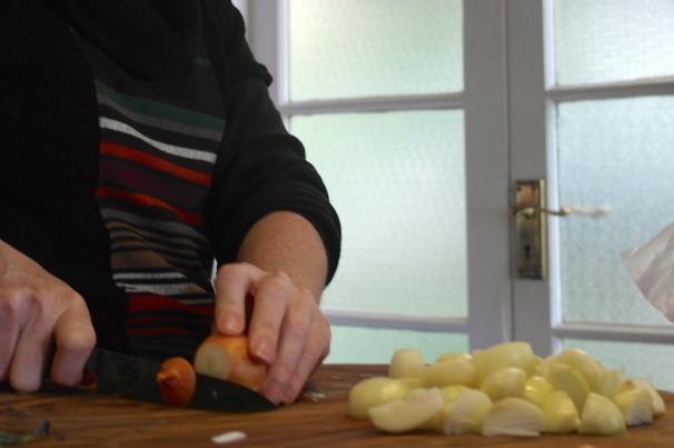 Sammy chops the onions